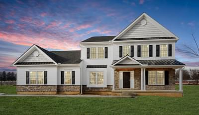 Meridian Farmhouse Exterior. 2,820sf New Home in Tatamy, PA