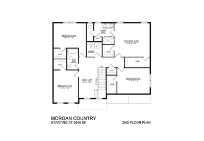 Morgan Country Base - 2nd Floor Plan. 2,648sf New Home in Drums, PA