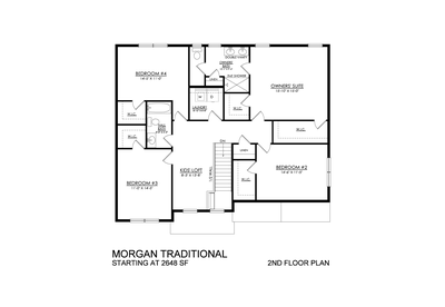 Morgan Traditional Base - 2nd Floor Plan. Drums, PA New Home