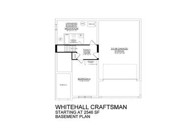Whitehall Traditional Base - Basement Floor Plan. New Home in Schnecksville, PA