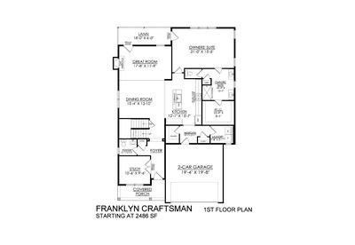 Craftsman Base - 1st Floor. Franklyn New Home in Schnecksville, PA