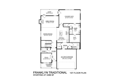 Traditional Base - 1st Floor - Optional Fireplace. 2,486sf New Home in White Haven, PA