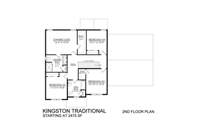 Kingston Traditional Base - 2nd Floor. 4br New Home in Coopersburg, PA