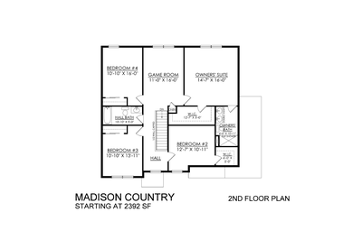 Madison Country Base - 2nd Floor. Madison New Home in Schnecksville, PA