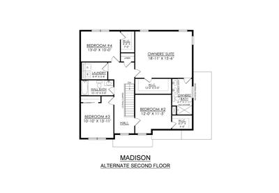 Madison Base - 2nd Floor (Alternative Floor Plan). 4br New Home in Schnecksville, PA