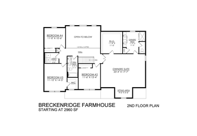Farmhouse Base - 2nd Floor. Breckenridge New Home in Drums, PA
