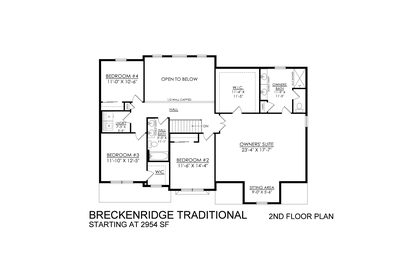 Traditional Base - 2nd Floor. 2,954sf New Home in Drums, PA